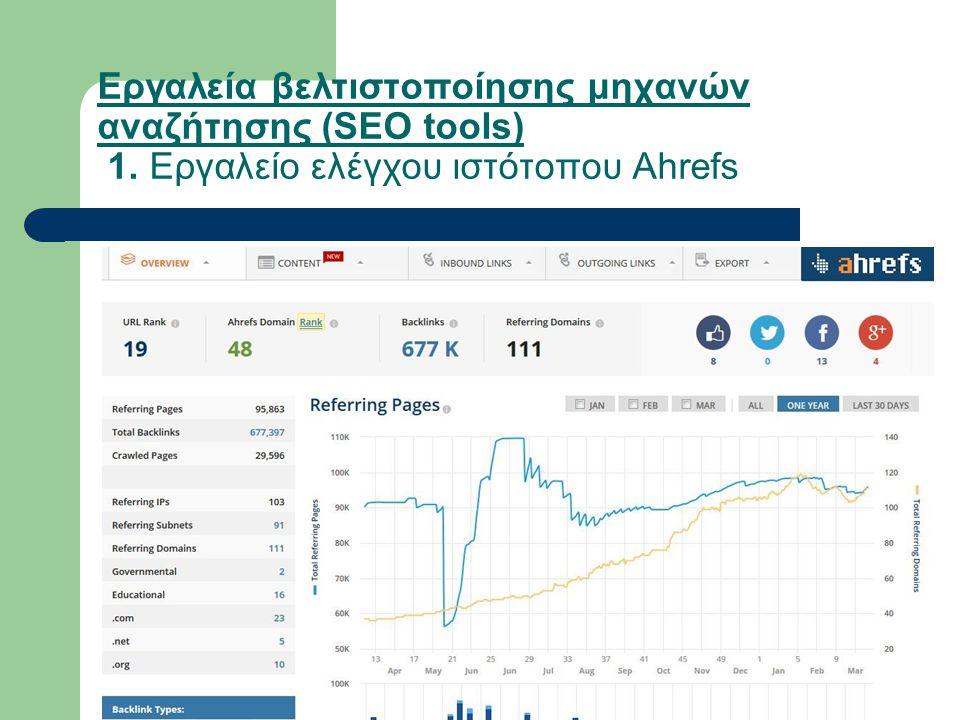 Εργαλεία βελτιστοποίησης μηχανών αναζήτησης (SEO tools) 1. Εργαλείο ελέγχου ιστότοπου Ahrefs