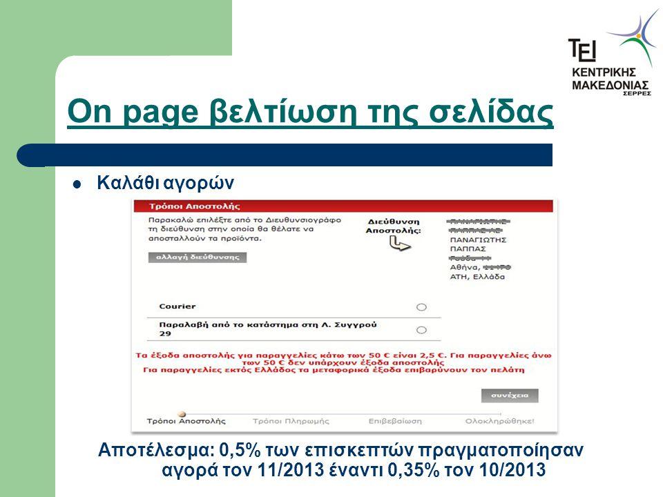 On page βελτίωση της σελίδας Καλάθι αγορών Αποτέλεσμα: 0,5% των επισκεπτών πραγματοποίησαν αγορά τον 11/2013 έναντι 0,35% τον 10/2013