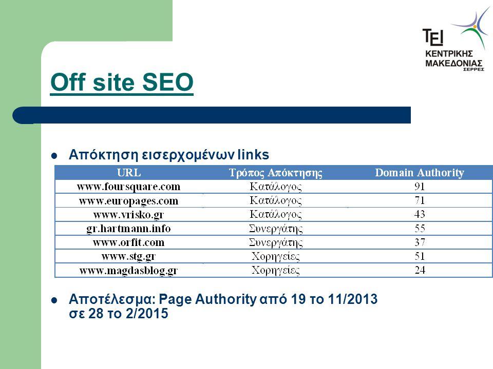 Off site SEO Απόκτηση εισερχομένων links Αποτέλεσμα: Page Authority από 19 το 11/2013 σε 28 το 2/2015