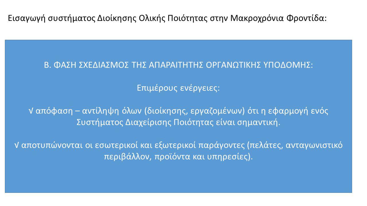 Φάσεις εισαγωγής συστήματος Διοίκησης Ολικής Ποιότητας στην Μακροχρόνια Φροντίδα: Γ.