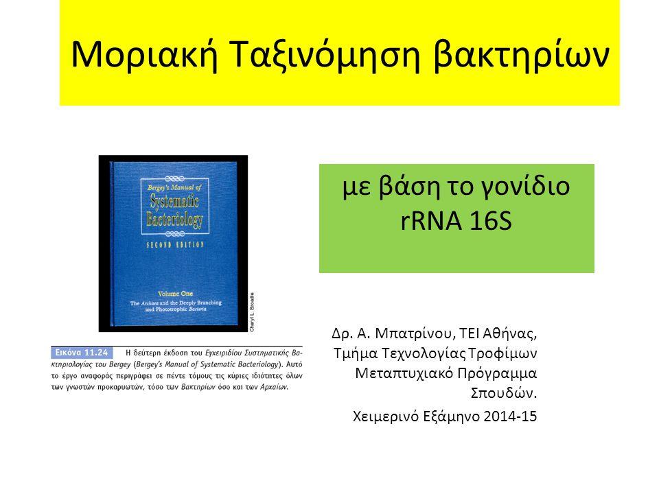 Μοριακή Ταξινόμηση βακτηρίων με βάση το γονίδιο rRNA 16S Δρ. Α. Μπατρίνου, ΤΕΙ Αθήνας, Τμήμα Τεχνολογίας Τροφίμων Μεταπτυχιακό Πρόγραμμα Σπουδών. Χειμ