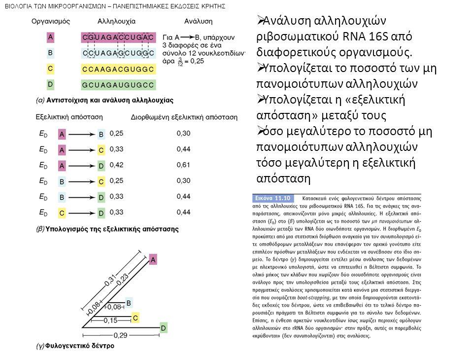 BIOΛOΓIA TΩN MIKPOOPΓANIΣMΩN – ΠANEΠIΣTHMIAKEΣ EKΔOΣEIΣ KPHTHΣ  Ανάλυση αλληλουχιών ριβοσωματικού RNA 16S από διαφορετικούς οργανισμούς.  Υπολογίζετ