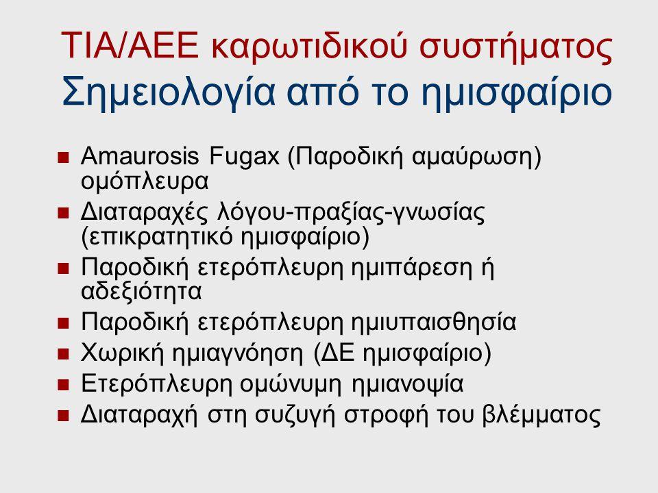 Πρόγνωση ΤΙΑ (ΠΙΕ) ΥΨΗΛΟΥ ΚΙΝΔΥΝΟΥΧΑΜΗΛΟΥ ΚΙΝΔΥΝΟΥ ΣυμπτώματαΕστιακό, τυπικό, ημισφαιρικό Παροδική αμαύρωση, σύγχυση, διαταραχή συνείδησης, μη ημισφαι
