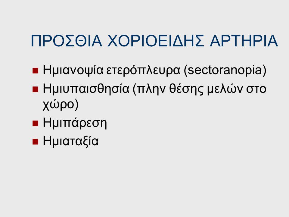 ΠΡΟΣΘΙΑ ΕΓΚΕΦΑΛΙΚΗ ΑΡΤΗΡΙΑ Ημιπάρεση ετερόπλευρα (πόδι) Υπαισθησία ετερόπλευρα Ακράτεια ούρων Αντανακλαστικό σύλληψης (grasp), παρατονία (gegenhalten)