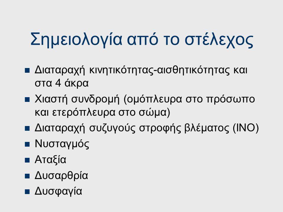 ΟΠΙΣΘΙΑ ΕΓΚΕΦΑΛΙΚΗ ΑΡΤΗΡΙΑ Ημιανοψία ομώνυμη ετερόπλευρα Αλεξία (  αγραφία) Αγνωσία χρωμάτων, οπτική, προσωπαγνωσία (R), περιβάλλοντος (R), νοσοαγνωσ