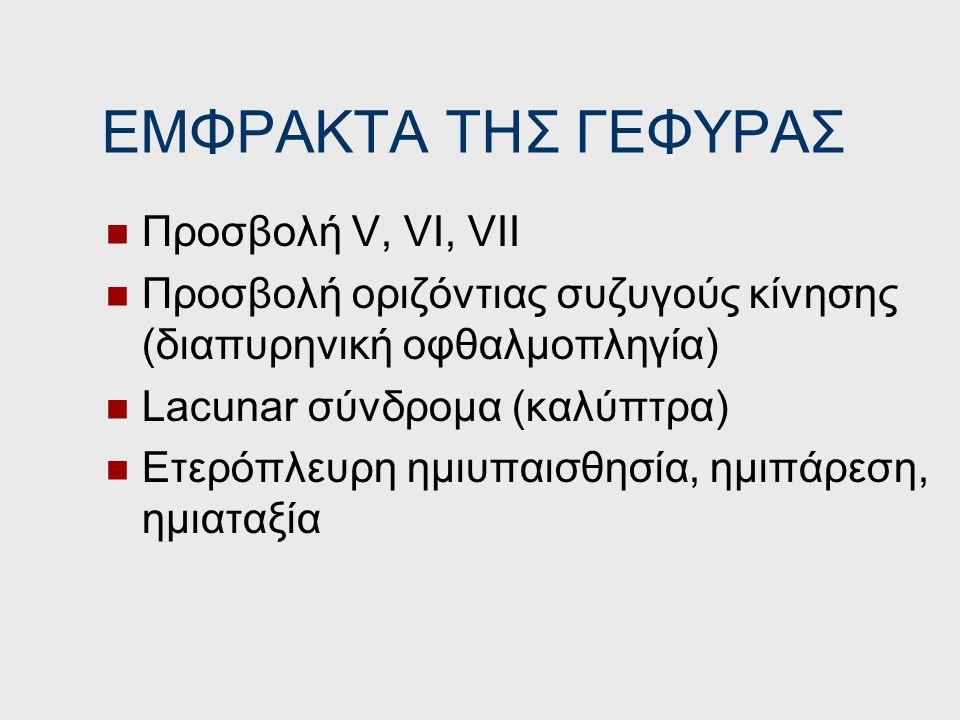ΜΕΣΕΓΚΕΦΑΛΙΚΑ ΕΜΦΡΑΚΤΑ Προσβολή κοινού κινητικού (ΙΙΙ) ομόπλευρα Προσβολή κάθετων συζυγών κινήσεων Ετερόπλευρη αταξία (Claude) Ετερόπλευρη ημιπάρεση (