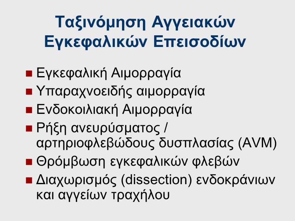 Ταξινόμηση Αγγειακών Εγκεφαλικών Επεισοδίων Α.ΙΣΧΑΙΜΙΚΑ Παροδικά Ισχαιμικά Επεισόδια (Transient Ischemic Attacks-TIAs) Aναστρέψιμες Ισχαιμικές Νευρολο