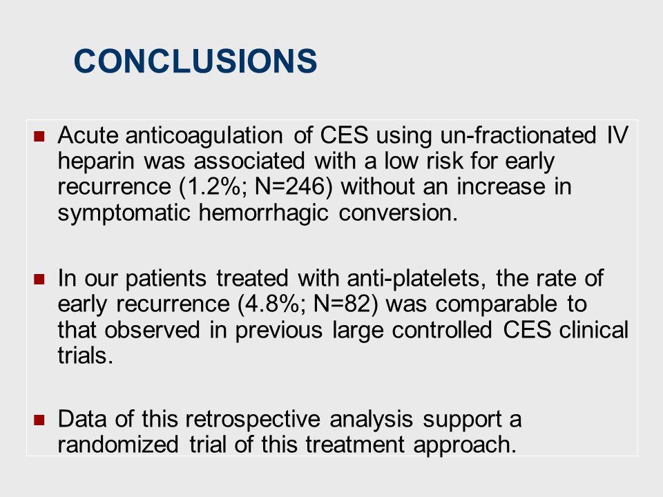 Θεραπεία CE stroke Recurre nce SCH IST (<7-14d) a Placebo (n=775) SC UFH (n=1557) APS (n=837) 2.5% 2.8% 2.3% 0.3% 2.1% 0.6% TOAST (7d) Placebo (n=123)