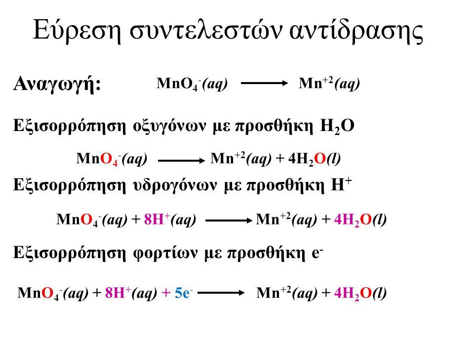 Εύρεση συντελεστών αντίδρασης (C 2 O 4 ) -2 (aq) + MnO 4 - (aq) Mn +2 (aq) + CO 2 (g) (C 2 O 4 ) -2 (aq) CO 2 (g) Οξείδωση: Εξισορρόπηση ατόμων άνθρακα (C 2 O 4 ) -2 (aq) 2CO 2 (g) Εξισορρόπηση φορτίων με προσθήκη e - (C 2 O 4 ) -2 (aq) 2CO 2 (g) +2e -