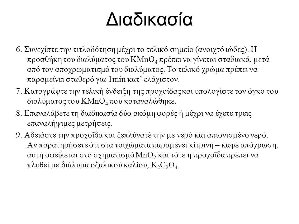 Διαδικασία 1.Γεμίστε την προχοΐδα με το διάλυμα του KMnO 4.