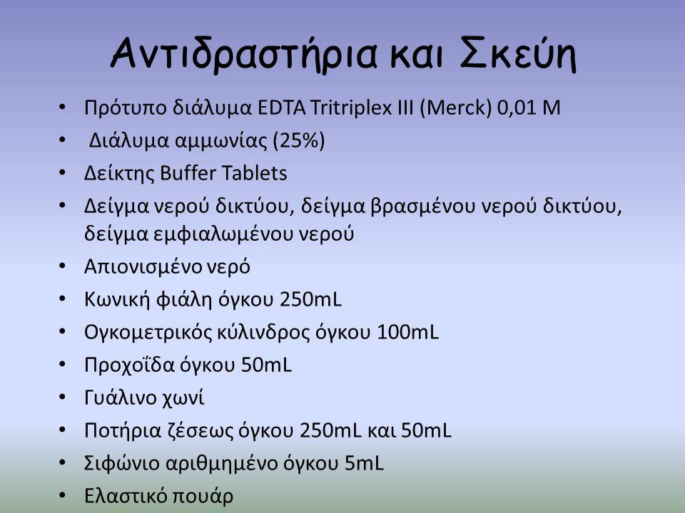 Αντιδραστήρια και Σκεύη Πρότυπο διάλυμα EDTA Tritriplex III (Merck) 0,01 M Διάλυμα αμμωνίας (25%) Δείκτης Buffer Tablets Δείγμα νερού δικτύου, δείγμα βρασμένου νερού δικτύου, δείγμα εμφιαλωμένου νερού Απιονισμένο νερό Κωνική φιάλη όγκου 250mL Ογκομετρικός κύλινδρος όγκου 100mL Προχοΐδα όγκου 50mL Γυάλινο χωνί Ποτήρια ζέσεως όγκου 250mL και 50mL Σιφώνιο αριθμημένο όγκου 5mL Ελαστικό πουάρ