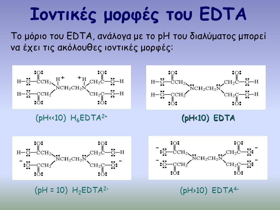 Ιοντικές μορφές του EDTA Το μόριο του EDTA, ανάλογα με το pH του διαλύματος μπορεί να έχει τις ακόλουθες ιοντικές μορφές: (pH<<10) H 6 EDTA 2+ (pH<10) EDTA (pH>10) EDTA 4- (pH = 10) H 2 EDTA 2-