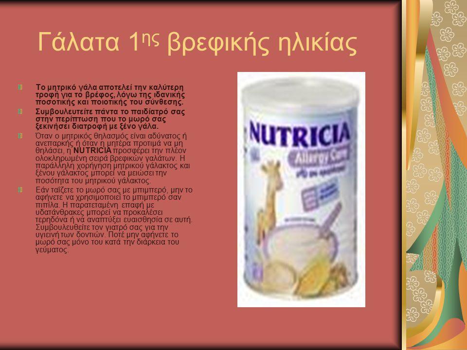 Γάλατα 1 ης βρεφικής ηλικίας Το μητρικό γάλα αποτελεί την καλύτερη τροφή για το βρέφος, λόγω της ιδανικής ποσοτικής και ποιοτικής του σύνθεσης.