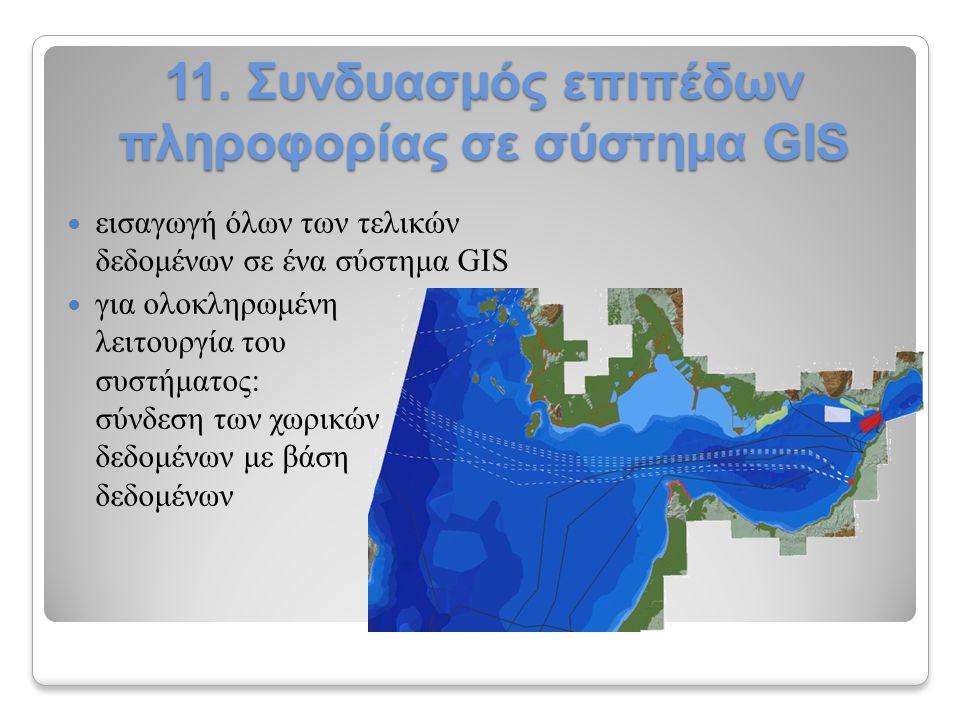 11. Συνδυασμός επιπέδων πληροφορίας σε σύστημα GIS εισαγωγή όλων των τελικών δεδομένων σε ένα σύστημα GIS για ολοκληρωμένη λειτουργία του συστήματος: