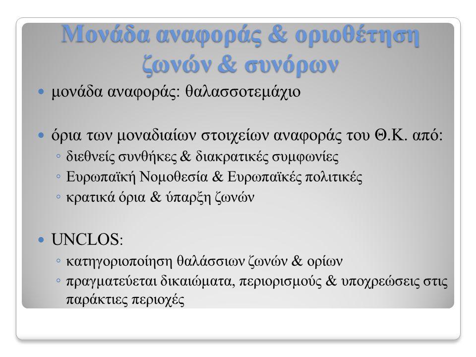 Μονάδα αναφοράς & οριοθέτηση ζωνών & συνόρων μονάδα αναφοράς: θαλασσοτεμάχιο όρια των μοναδιαίων στοιχείων αναφοράς του Θ.Κ.