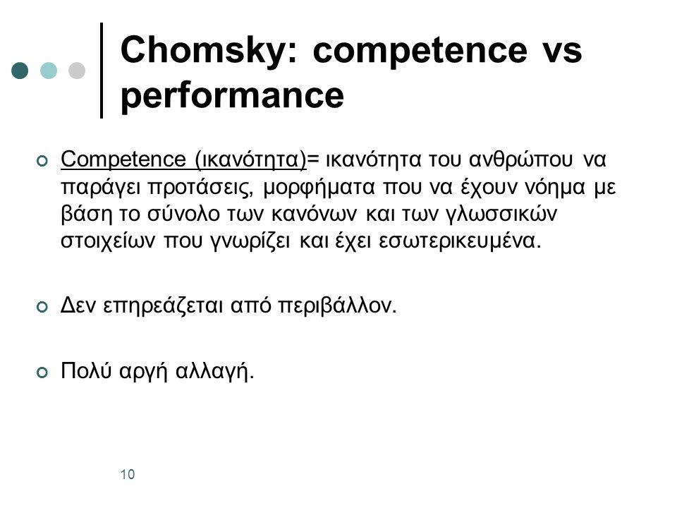 Chomsky: competence vs performance Competence (ικανότητα)= ικανότητα του ανθρώπου να παράγει προτάσεις, μορφήματα που να έχουν νόημα με βάση το σύνολο