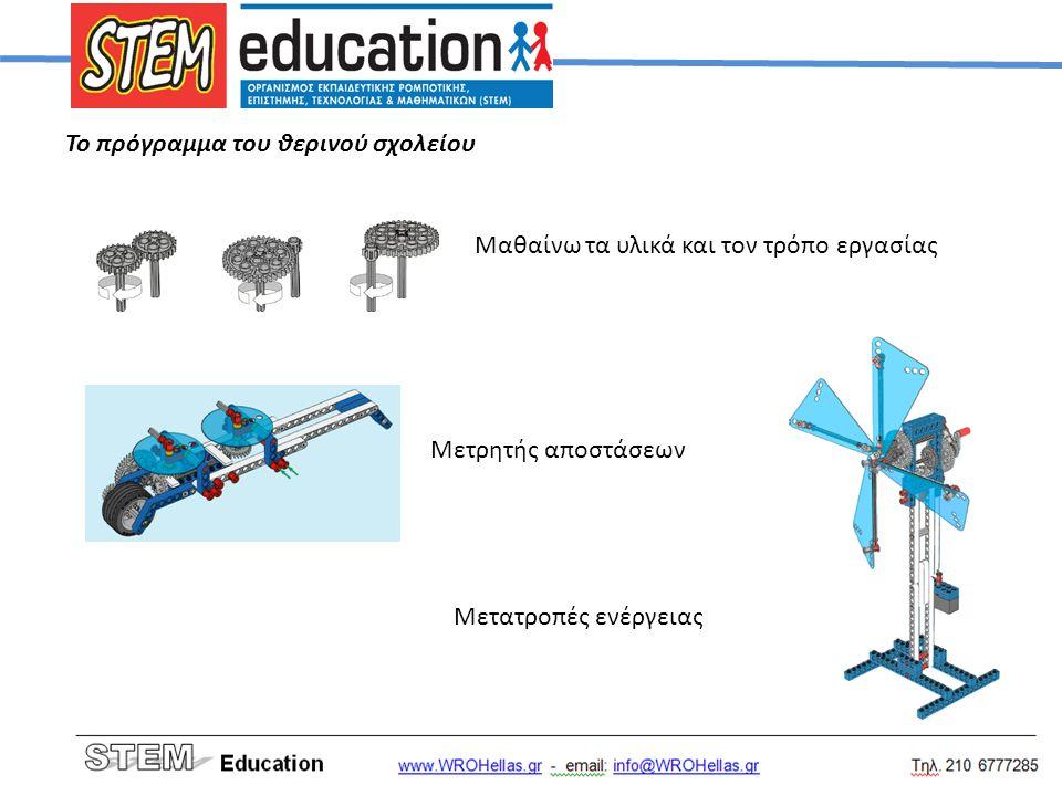 Το πρόγραμμα του θερινού σχολείου Μαθαίνω τα υλικά και τον τρόπο εργασίας Μετρητής αποστάσεων Μετατροπές ενέργειας