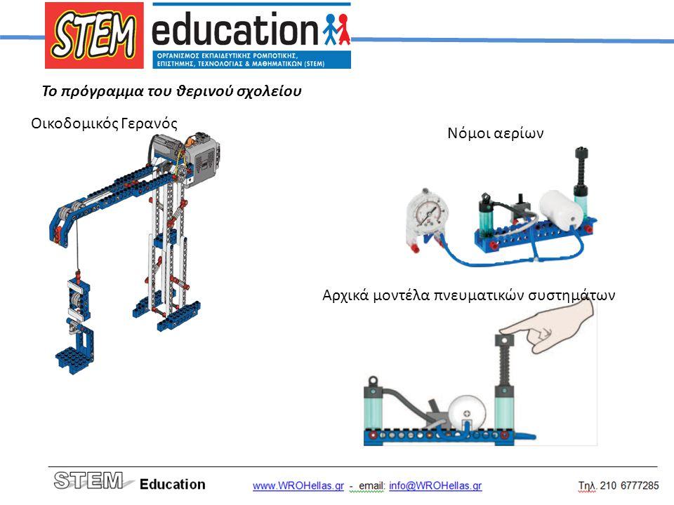 Το πρόγραμμα του θερινού σχολείου Οικοδομικός Γερανός Νόμοι αερίων Αρχικά μοντέλα πνευματικών συστημάτων