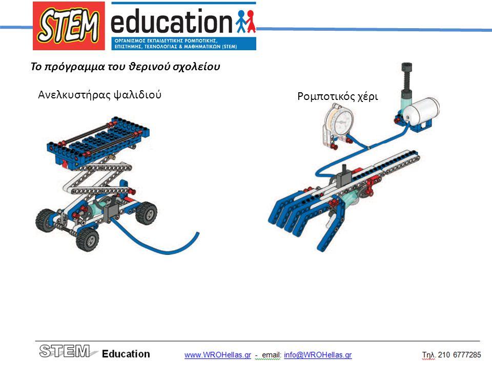 Το πρόγραμμα του θερινού σχολείου Ανελκυστήρας ψαλιδιού Ρομποτικός χέρι