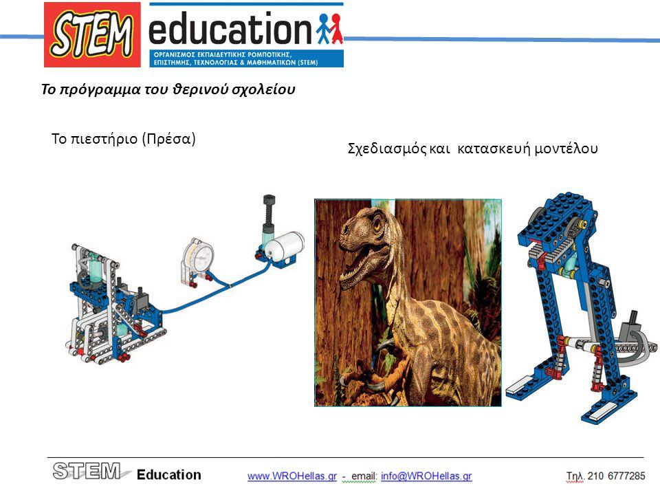 Το πρόγραμμα του θερινού σχολείου Το πιεστήριο (Πρέσα) Σχεδιασμός και κατασκευή μοντέλου
