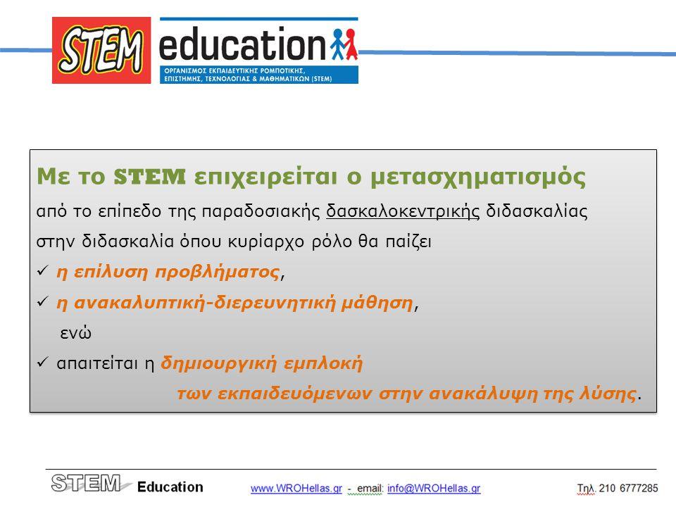 Με το STEM επιχειρείται ο μετασχηματισμός από το επίπεδο της παραδοσιακής δασκαλοκεντρικής διδασκαλίας στην διδασκαλία όπου κυρίαρχο ρόλο θα παίζει η