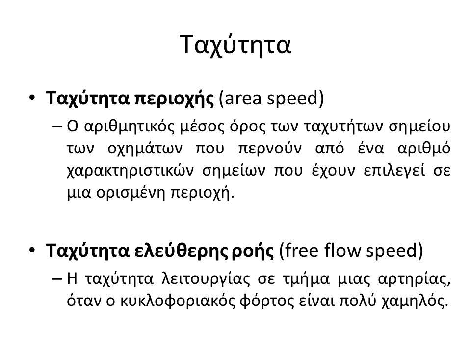 Ταχύτητα Ταχύτητα περιοχής (area speed) – Ο αριθμητικός μέσος όρος των ταχυτήτων σημείου των οχημάτων που περνούν από ένα αριθμό χαρακτηριστικών σημεί