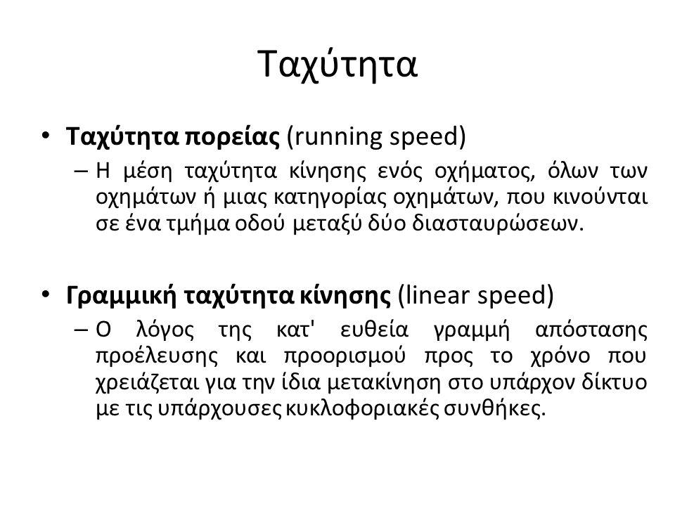 Ταχύτητα Ταχύτητα πορείας (running speed) – Η μέση ταχύτητα κίνησης ενός οχήματος, όλων των οχημάτων ή μιας κατηγορίας οχημάτων, που κινούνται σε ένα