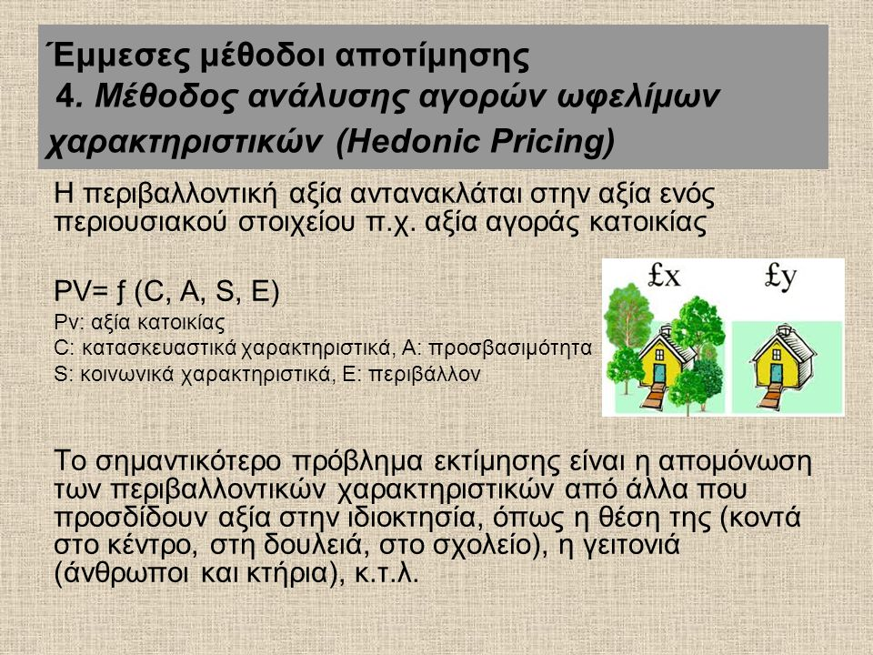 Η περιβαλλοντική αξία αντανακλάται στην αξία ενός περιουσιακού στοιχείου π.χ. αξία αγοράς κατοικίας PV= ƒ (C, A, S, E) Pv: αξία κατοικίας C: κατασκευα