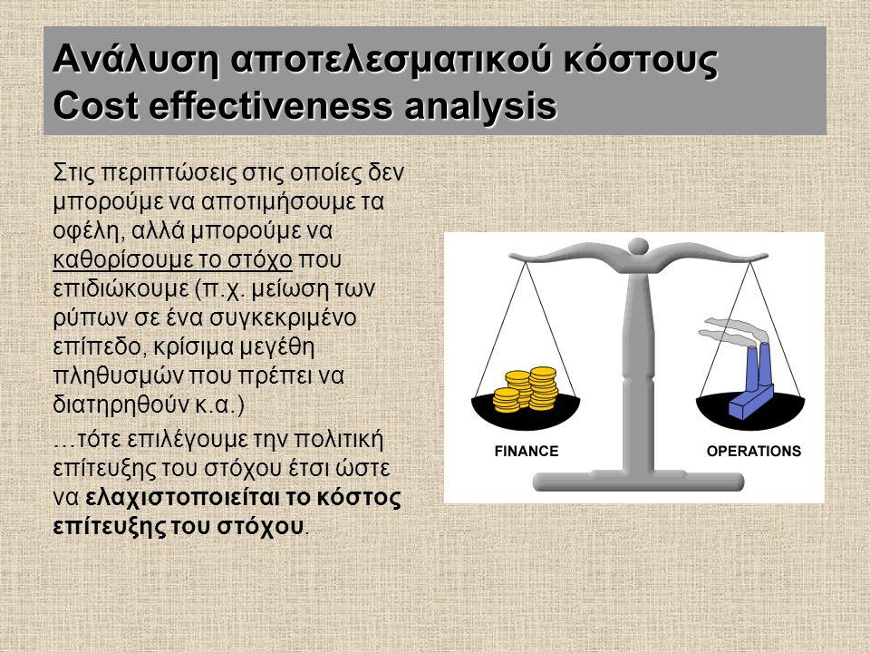 Ανάλυση αποτελεσματικού κόστους Cost effectiveness analysis Στις περιπτώσεις στις οποίες δεν μπορούμε να αποτιμήσουμε τα οφέλη, αλλά μπορούμε να καθορ