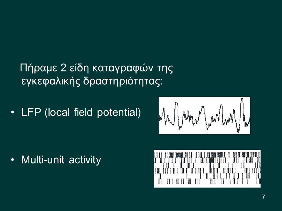 7 Πήραμε 2 είδη καταγραφών της εγκεφαλικής δραστηριότητας: LFP (local field potential) Multi-unit activity