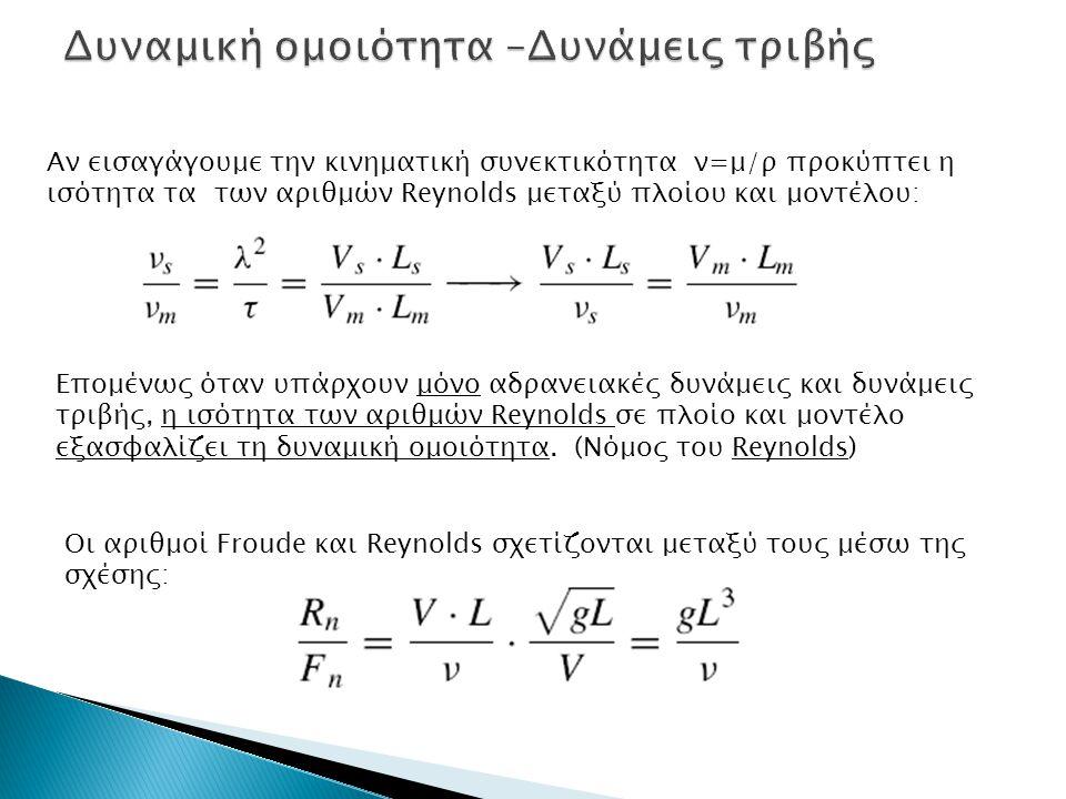 Αν εισαγάγουμε την κινηματική συνεκτικότητα ν=μ/ρ προκύπτει η ισότητα τα των αριθμών Reynolds μεταξύ πλοίου και μοντέλου: Επομένως όταν υπάρχουν μόνο