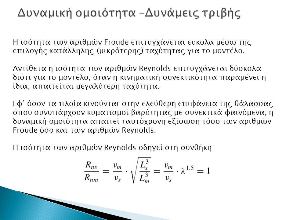 Η ισότητα των αριθμών Froude επιτυγχάνεται ευκολα μέσω της επιλογής κατάλληλης (μικρότερης) ταχύτητας για το μοντέλο. Αντίθετα η ισότητα των αριθμών R