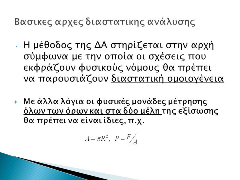 Η μέθοδος της ΔΑ στηρίζεται στην αρχή σύμφωνα με την οποία οι σχέσεις που εκφράζουν φυσικούς νόμους θα πρέπει να παρουσιάζουν διαστατική ομοιογένεια 