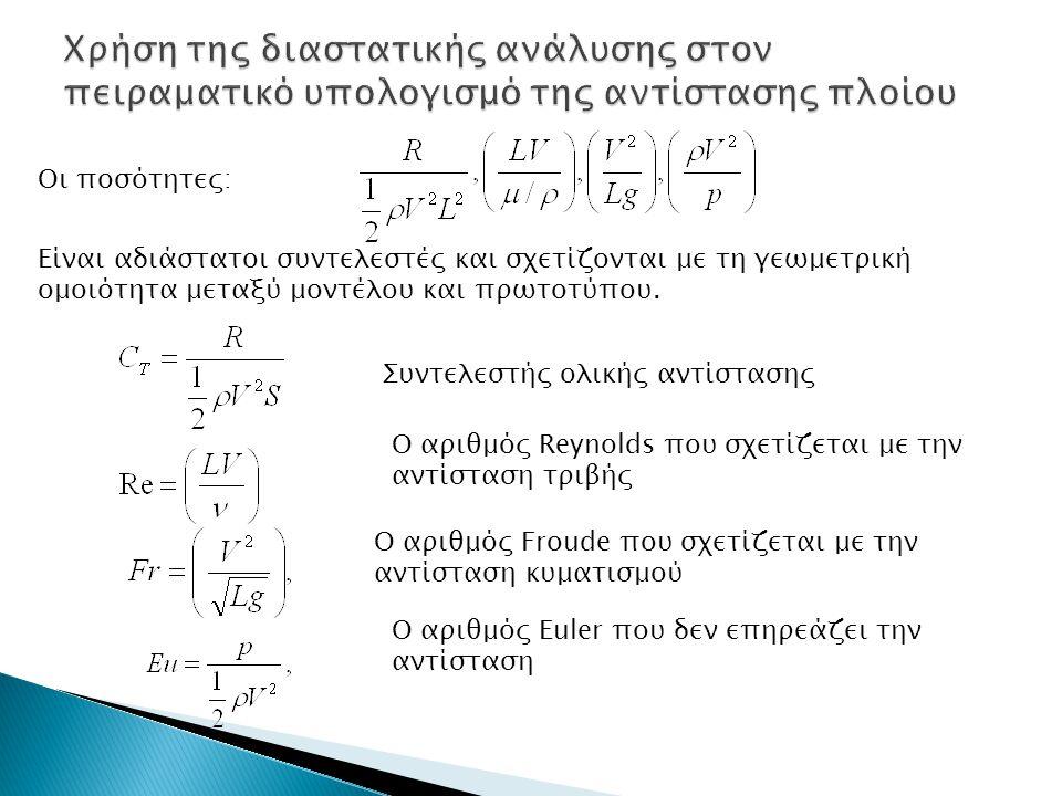 Οι ποσότητες: Είναι αδιάστατοι συντελεστές και σχετίζονται με τη γεωμετρική ομοιότητα μεταξύ μοντέλου και πρωτοτύπου. Συντελεστής ολικής αντίστασης Ο