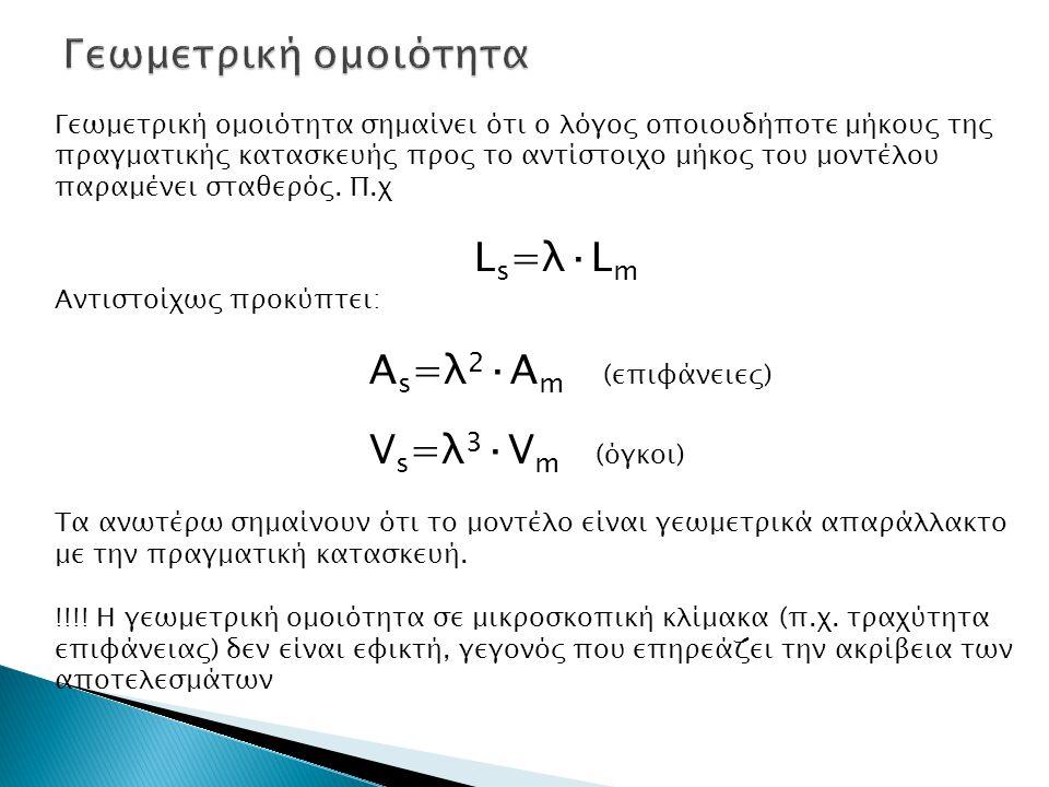 Γεωμετρική ομοιότητα σημαίνει ότι ο λόγος οποιουδήποτε μήκους της πραγματικής κατασκευής προς το αντίστοιχο μήκος του μοντέλου παραμένει σταθερός. Π.χ
