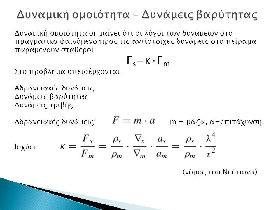 Δυναμική ομοιότητα σημαίνει ότι οι λόγοι των δυνάμεων στο πραγματικό φαινόμενο προς τις αντίστοιχες δυνάμεις στο πείραμα παραμένουν σταθεροί F s =κ·F