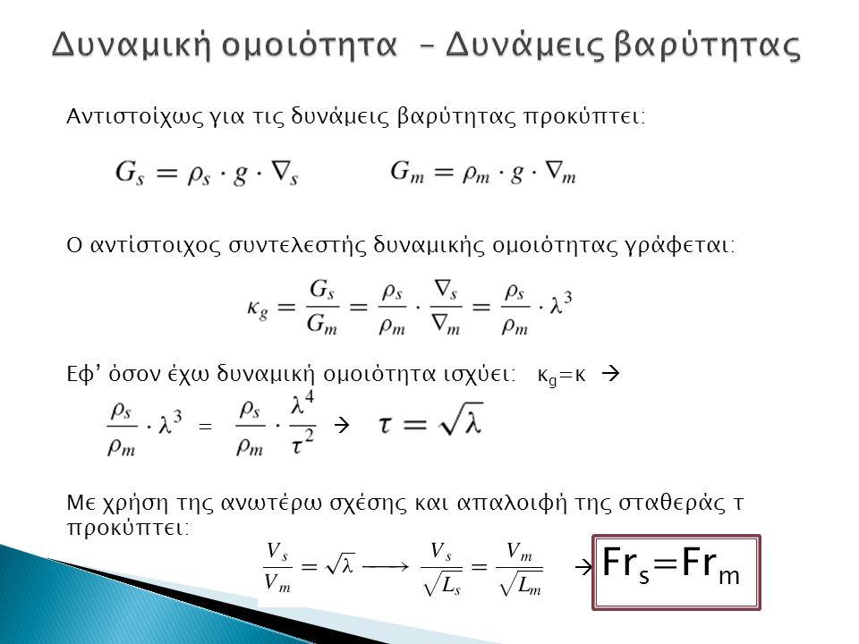 Αντιστοίχως για τις δυνάμεις βαρύτητας προκύπτει: Ο αντίστοιχος συντελεστής δυναμικής ομοιότητας γράφεται: Εφ' όσον έχω δυναμική ομοιότητα ισχύει: κ g
