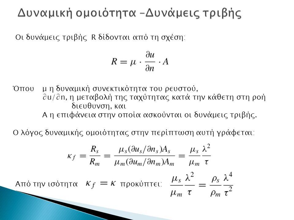 Οι δυνάμεις τριβής R δίδονται από τη σχέση: Όπου μ η δυναμική συνεκτικότητα του ρευστού, ∂u/∂n, η μεταβολή της ταχύτητας κατά την κάθετη στη ροή διευθ