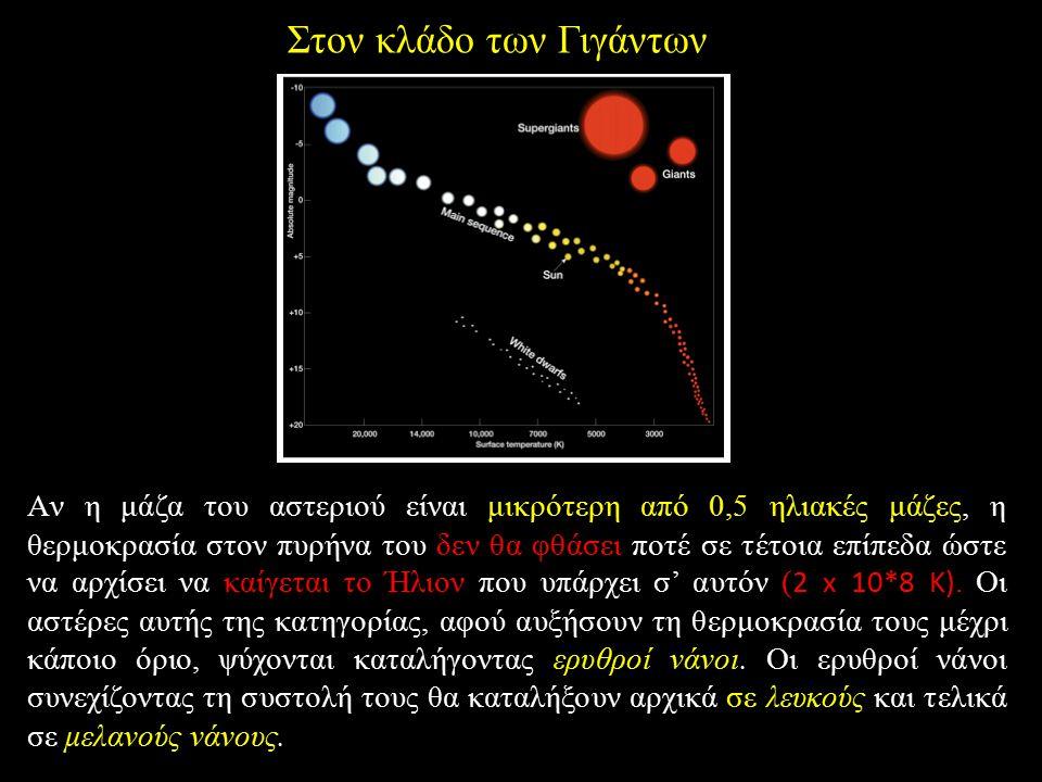 Στον κλάδο των Γιγάντων Aν η μάζα του αστεριού είναι μικρότερη από 0,5 ηλιακές μάζες, η θερμοκρασία στον πυρήνα του δεν θα φθάσει ποτέ σε τέτοια επίπε