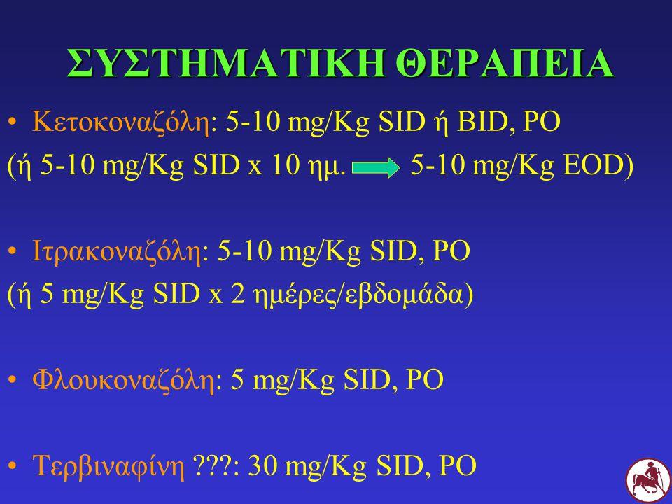 ΣΥΣΤΗΜΑΤΙΚΗ ΘΕΡΑΠΕΙΑ Κετοκοναζόλη: 5-10 mg/Kg SID ή BID, PO (ή 5-10 mg/Kg SID x 10 ημ.5-10 mg/Kg EOD) Ιτρακοναζόλη: 5-10 mg/Kg SID, PO (ή 5 mg/Kg SID x 2 ημέρες/εβδομάδα) Φλουκοναζόλη: 5 mg/Kg SID, PO Τερβιναφίνη ???: 30 mg/Kg SID, PO