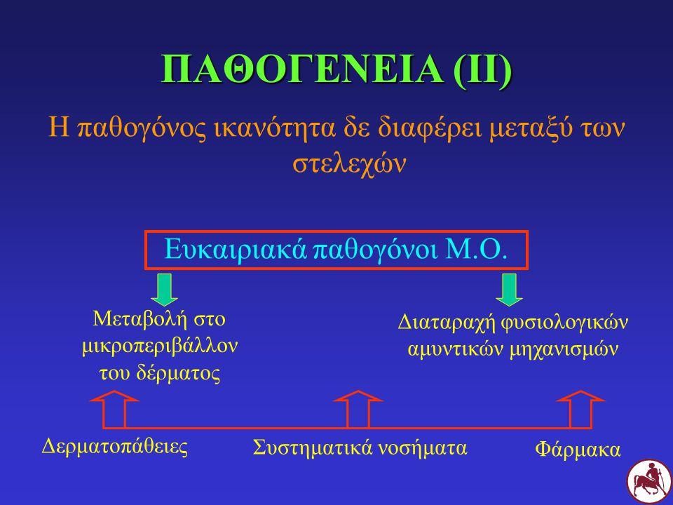 ΠΑΘΟΓΕΝΕΙΑ (ΙΙΙ) Μεταβολές που προδιαθέτουν σε δερματίτιδα από Malassezia Αυξημένη υγρασία δέρματος Αυξημένη θερμοκρασία δέρματος.