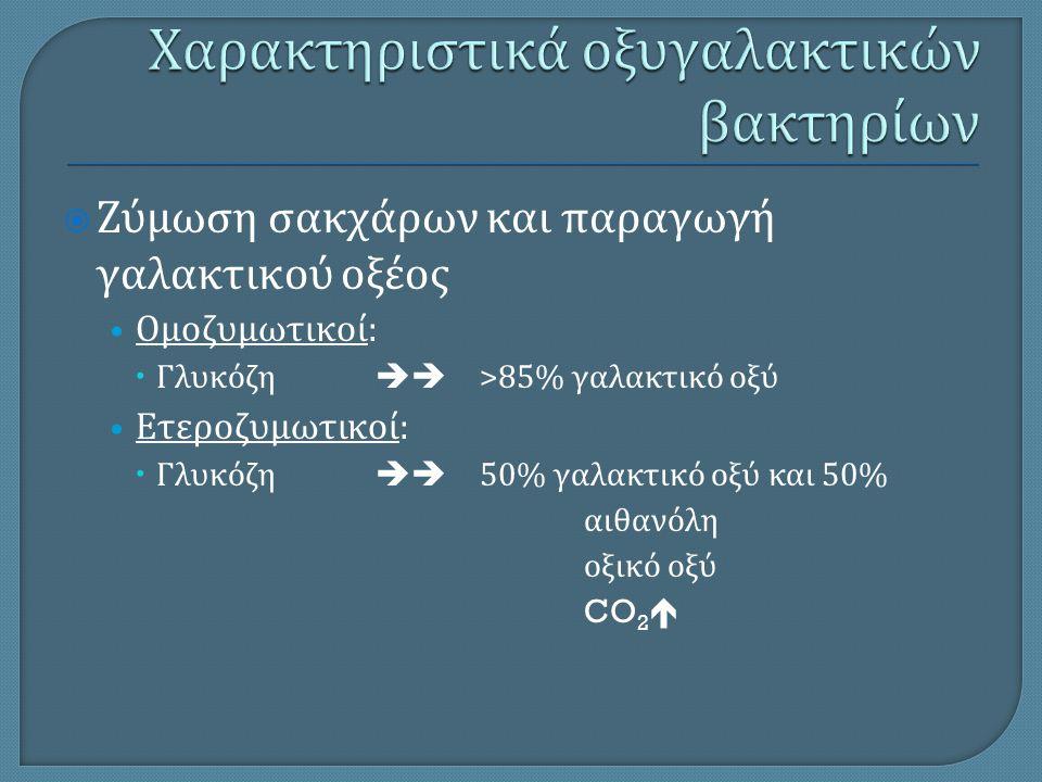  Ζύμωση σακχάρων και παραγωγή γαλακτικού οξέος Ομοζυμωτικοί :  Γλυκόζη  >85% γαλακτικό οξύ Ετεροζυμωτικοί :  Γλυκόζη  50% γαλακτικό οξύ και 50%
