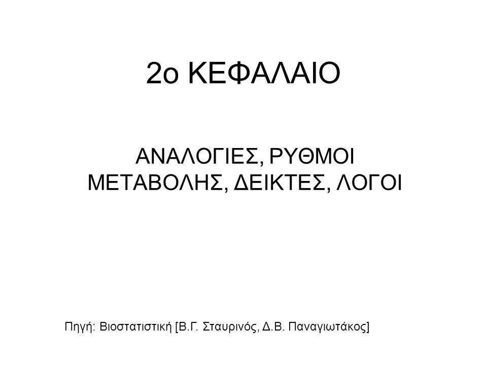 2ο ΚΕΦΑΛΑΙΟ ΑΝΑΛΟΓΙΕΣ, ΡΥΘΜΟΙ ΜΕΤΑΒΟΛΗΣ, ΔΕΙΚΤΕΣ, ΛΟΓΟΙ Πηγή: Βιοστατιστική [Β.Γ.