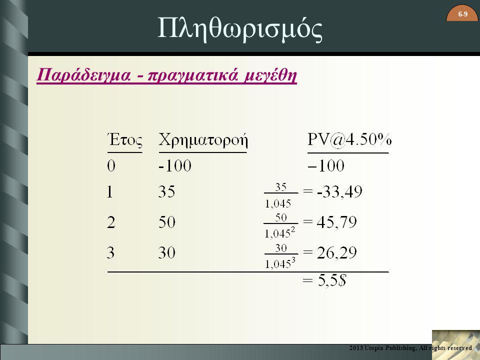 6-9 Πληθωρισμός Παράδειγμα - πραγματικά μεγέθη 2013 Utopia Publishing, All rights reserved