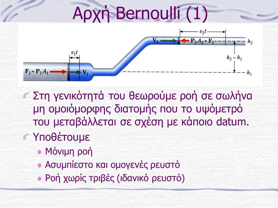 Αρχή Bernoulli (1) Στη γενικότητά του θεωρούμε ροή σε σωλήνα μη ομοιόμορφης διατομής που το υψόμετρό του μεταβάλλεται σε σχέση με κάποιο datum. Υποθέτ