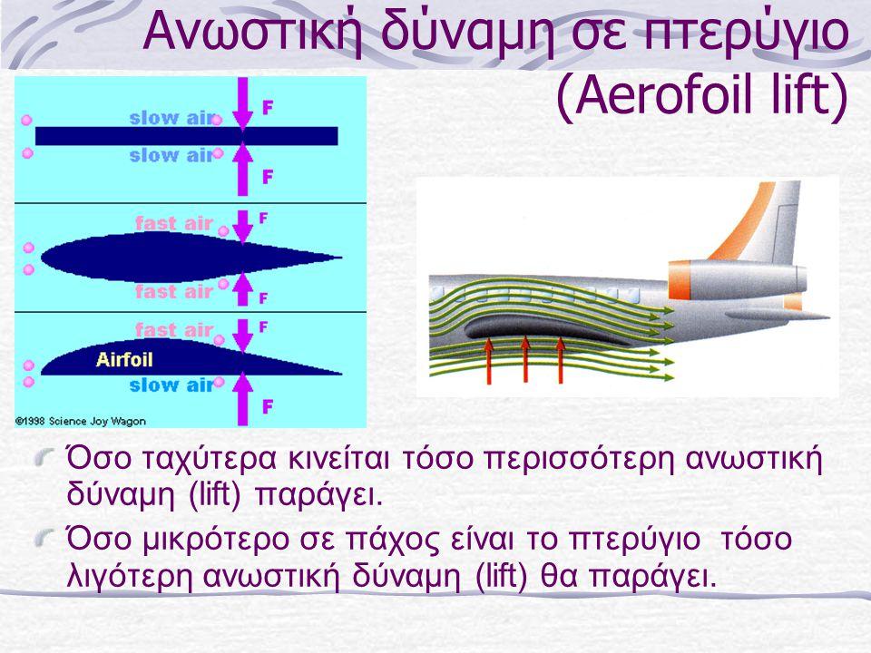 Ανωστική δύναμη σε πτερύγιο (Aerofoil lift) Όσο ταχύτερα κινείται τόσο περισσότερη ανωστική δύναμη (lift) παράγει. Όσο μικρότερο σε πάχος είναι το πτε