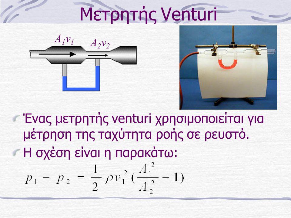 Μετρητής Venturi Ένας μετρητής venturi χρησιμοποιείται για μέτρηση της ταχύτητα ροής σε ρευστό. Η σχέση είναι η παρακάτω: A1v1A1v1 A2v2A2v2