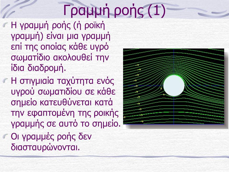 Γραμμή ροής (1) Η γραμμή ροής (ή ροϊκή γραμμή) είναι μια γραμμή επί της οποίας κάθε υγρό σωματίδιο ακολουθεί την ίδια διαδρομή. Η στιγμιαία ταχύτητα ε