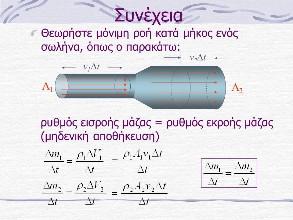 Συνέχεια Θεωρήστε μόνιμη ροή κατά μήκος ενός σωλήνα, όπως ο παρακάτω: A1A1 A2A2 ρυθμός εισροής μάζας = ρυθμός εκροής μάζας (μηδενική αποθήκευση) v2tv
