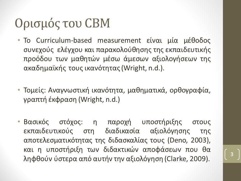 Ορισμός του CBM Το Curriculum-based measurement είναι μία μέθοδος συνεχούς ελέγχου και παρακολούθησης της εκπαιδευτικής προόδου των μαθητών μέσω άμεσων αξιολογήσεων της ακαδημαϊκής τους ικανότητας (Wright, n.d.).